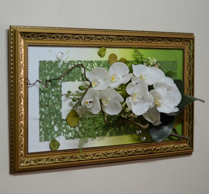 Коллаж из искусственных цветов своими руками