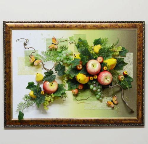 Картина из муляжей фруктов в багетной раме 60*80 см: http://flora74.ru/shop/6080-sm/nastennaya-fruktovaya-kompoziciya-6080-sm-2/