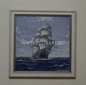 гобелен, картина, море, корабль