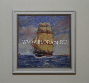 картина, гобелен, море, корабль, парусник