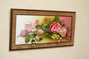 картина из искусственных цветов, подарок, презент