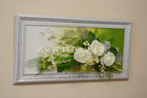 картина, искусственные цветы, подарок