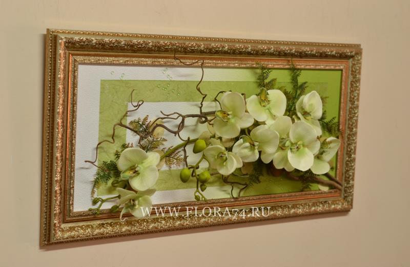 Картина из искусственных цветов своими руками в рамке 61