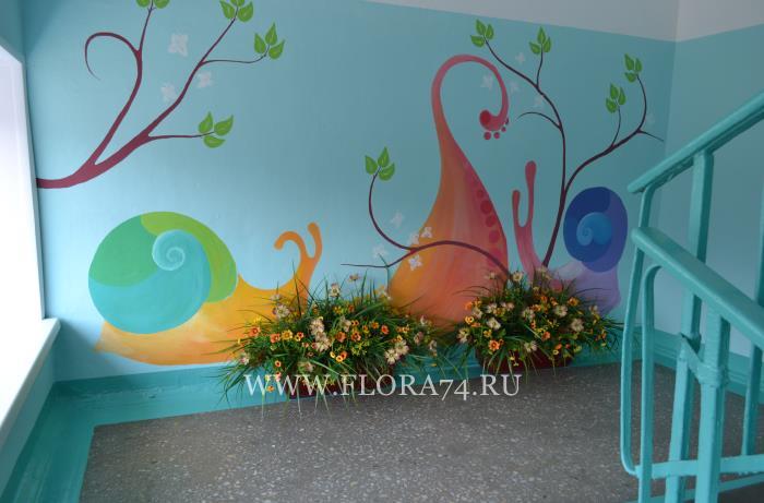 Цветочные клумбы в школе