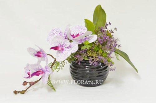 Композиция с орхидеей фаленопсис в керамической вазе.