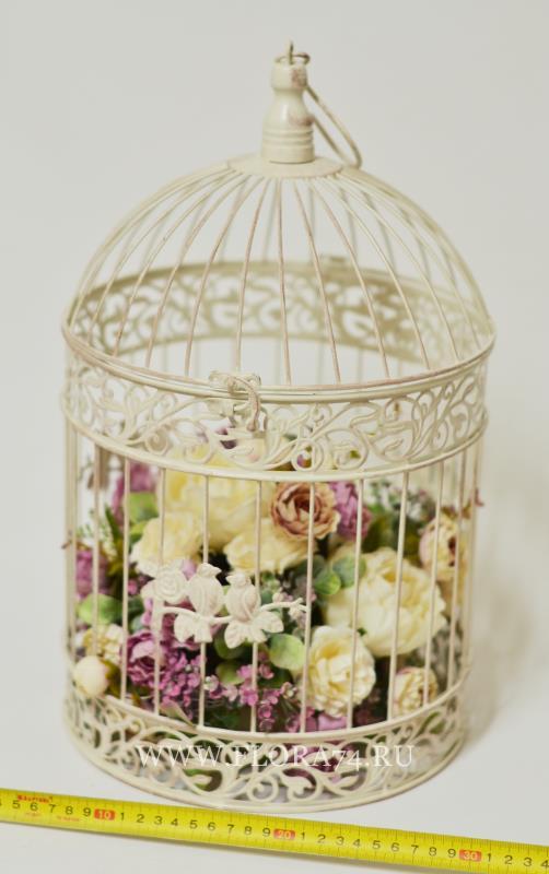 Клетка декоративная с цветочной композицией  52*24 см