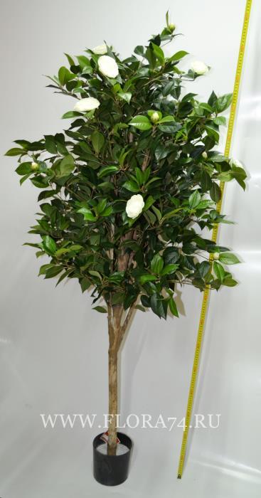 Искусственное дерево в горшке с цветами. Ботаническая копия.